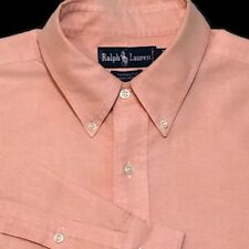 Ralph Lauren Yarmouth Shirt 17-34 Peach Oxford Button Front Pony Long Sleeve