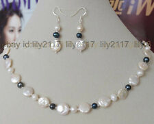 11-12mm coin white pearl natural black white akoya pearl necklace earring set