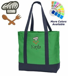 Personalized Chef Tote Bag Chef Hat Embroidered Monogrammed with Name