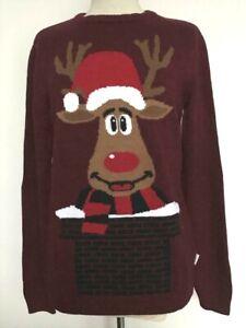 Christmas Jumper Unisex Top Xmas Warm Rudolph Reindeer Size 10-24 Mens S-XXL