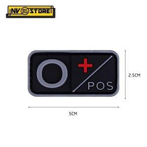 Patch in PVC Gruppo Sanguigno 0+ POS 5 x 2,5 cm Soccorso Militare Velcrata DARK