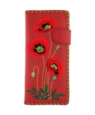LAVISHY POPPY EMBROIDERED LARGE WALLET VEGAN FAUX LEATHER NEW (97-190Red)
