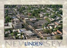 Linden, New Jersey, Aerial View, Wood Avenue, City Hall, Union County - Postcard