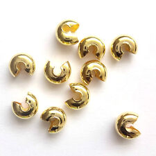 100 Gold Plated Crimp Cover Beads 5mm Findings