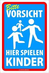 Schild Vorsicht hier spielen Kinder Spielende Kinder groß XXL 40x60 günstig