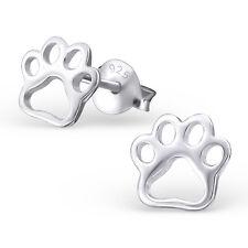 Childrens Girls 925 Sterling Silver PAW PRINT Stud Earrings Cute Dog Boxed UK