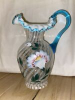 Fenton French Opalescent Glass Hand Painted 90th Anniversary Pitcher Blue Crest