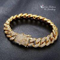 Thick 18K White & Yellow Gold GF Diamond Studded Luxury Hip Hop Men's Bracelet