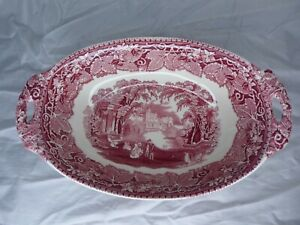 "Mason's Red Pink Vista 10-3/4"" Oval Handled Vegetable Bowl England"