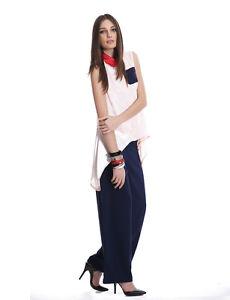 Contrast Sleeveless Shirt in Blush / Ink