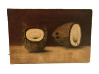 """RARE American School SOUTHERN 1870's Folk Art  oil """"Paintings Of Coconuts"""""""