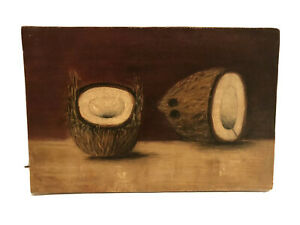"RARE American School SOUTHERN 1870's Folk Art  oil ""Paintings Of Coconuts"""