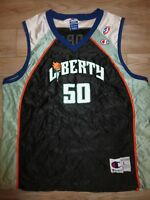 New York Liberty #50 Rebecca Lobo Uconn WNBA Basketball Jersey Womens LG L