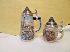 2 > GERMAN BEER STEINS by GERZ ~ Muchen Germany Scenes Miniature