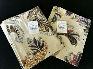 Yves Delorme Parure Ivory 2 King Shams Cases Paisley 100% Cotton Sateen NEW Pair