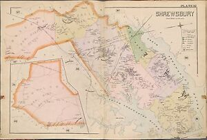 1889 SHREWSBURY TINTON FALLS PINE BROOK MONMOUTH COUNTY NEW JERSEY ATLAS MAP