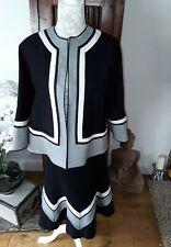 Jaeger skirt suit black/grey/cream UK 10/12 wool work office