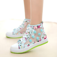 Womens Casual Flats Summer Sneakers Lace Up Mesh Breathable Floral Canvas Sports