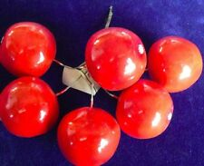 "Vintage Millinery Flower Fruit Red 1 3/4"" Apple Lot of 6pc Glossy for Hat Y217a"