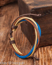 D09 Mens Cool Surfer Multi Band Hemp Leather Bracelet Bangle Cuff For Women