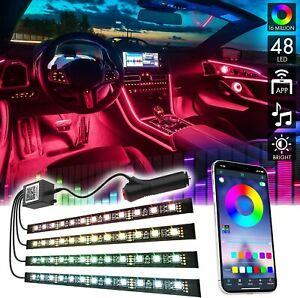 4X RGB LED Fußraumbeleuchtung Innenraumbeleuchtung 12V Auto Ambientebeleuchtung