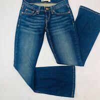 Levis 524 Womens Jeans 0 S/C Blue Too Superlow Flare Stretch Boho Dark Wash EUC