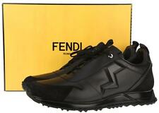 NEW FENDI ZIG-ZAG RUNNER BLACK MATTE LEATHER SNEAKERS SHOES 10/US11