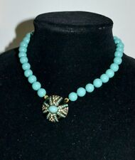 NIB $140 HEIDI DAUS Simply Irresistible Domed Starburst Turquoise Bead Necklace