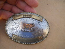 Vintage Worn B B Cattle Ranch Limousin Bull  Western Belt Buckle
