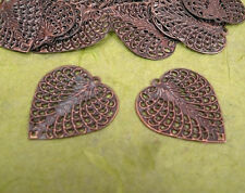 30pc 27x24mm antique copper finish filigree leaf pendants-9656B