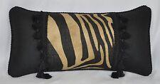 Pillow made w Ralph Lauren Calimesa Linen Stripe and Black Logo Fabric 18x9 cord