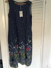 Lily and me Border Print Rosebay Snowshill Meadow Dress Cornflower Size 12. £75
