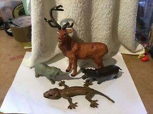 RED DEER, ELEPHANT, HIPPO & LIZARD TOYS/FIGURES - 4pcs