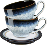 Denby Halo 4 Piece Tea/Coffee Cup and Saucer Set