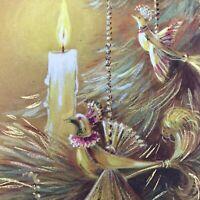 Vintage Mid Century Christmas Greeting Card Hallmark Gold Partridge In Pear Tree