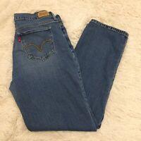 Women's LEVI'S 505 Straight Leg Denim Stretch Mid Rise Blue Jeans - 12