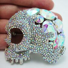 Classic Luxury Clear AB Rhinestone Crystal Hollow Eye Skull Brooch Pin Pendant