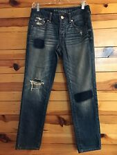 *AMERICAN EAGLE* Women's Juniors Boy Crop Patched Destroyed Jeans Size 0 Regular