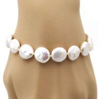 GLÄNZEND ● 12mm ● Zucht Perlen Scheiben Armband weiß ygf 14k Gold 585 (HG 17cm)
