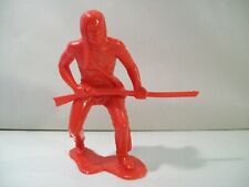"VINTAGE LARGE RED PLASTIC WESTERN INDIAN BRAVE 5"" FIGURE WITH RIFLE"