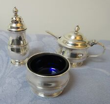 Vintage Sterling Silver Cruet Set Pepperette Mustard Salt Adie Bros.