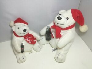 Lot of 2 Coca-Cola Polar Bear Plush w/ Bottle  Promotional Toy Great Condition