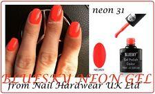 BLUESKY NEON 31 BRIGHT ORANGE RED/CORAL UV LED GEL NAIL POLISH FREE P&P