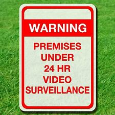 """WARNING FOR PREMISES VIDEO SURVEILLANCE SIGN ALUMINUM 10"""" BY 14"""" OUTDOOR METAL"""