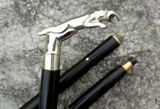 Solid Brass Jaguar Head Handle Designer Cane Wooden Walking Stick Christmas Gift