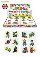 SUPERHERO KIDS TEMPORARY TATTOOS Assorted Designs Party Bag Filler Loot BOYS