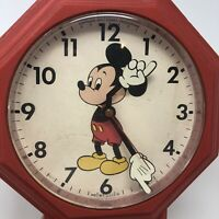 Vintage Welby by Elgin Walt Disney Mickey Mouse School House Wall Clock Red