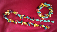 Vintage glass Fruit Salad Jewelry, necklace and bracelet. Fun to wear.