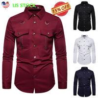 Men's Long Sleeve Casual Button Down Tops Zipper Pockets Slim Fit Dress Shirt US