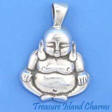 LARGE HEAVY BUDDHA BUDDAH .925 Sterling Silver PENDANT MADE IN USA
